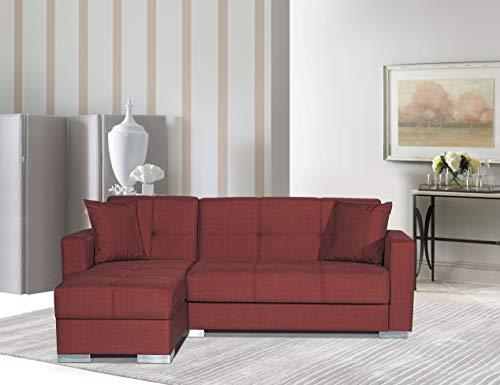 Divano letto angolare Avada Chaise Loung reversibile Destra o Sinistra angolare con contenitore 3 posti 212 x 145 cm (Bordeaux)