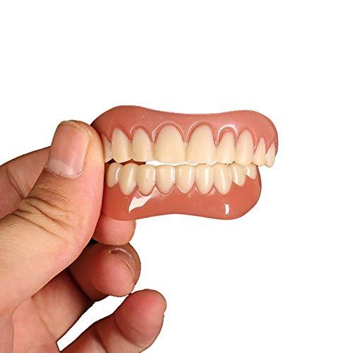 CXQZLH 2 Paar zähne Comfort fit Flex kosmetische zähne prothesenzähne Oben kosmetische furnier Simulation klammern (unten + Oben)