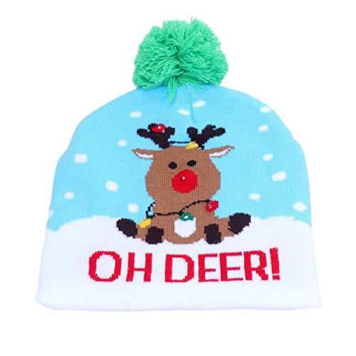 Toyvian gorro de navidad sombrero árbol de navidad reno gorro de punto pom sombrero de navidad brillante regalo...