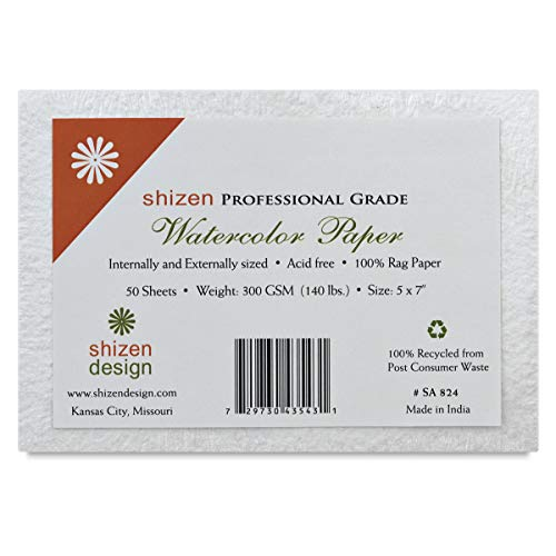 Shizen Design Professional Grade Watercolor Paper 9 in. x 12 in. deckle edges pack of 5
