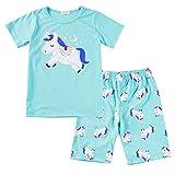 Pijamas Unicornio Niña Algodon 100% Conjunto Pijama Dos Piezas Niño Verano Manga Corta Ropa Set T Shirt y Pantalones cortos/130cm