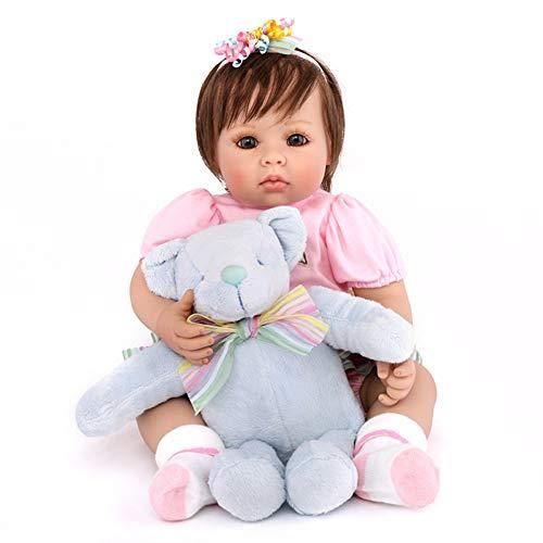 NPKdoll Reborn Baby Bambino Simulazione Carino Ragazza 50cm,Soft Simulation Silicone Vinyl/Collezionare Regalo Giocattolo Bambole con La Bambola Bear