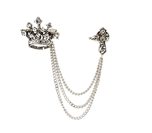 Knighthood Crown Tassel Chain Brooch Lapel Pin Badge Coat Suit Collar Accessories Brooch for Men