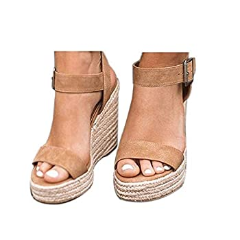 VICKI·VICKI Women s Platform Sandals Wedge Ankle Strap Open Toe Sandals Khaki Size 8
