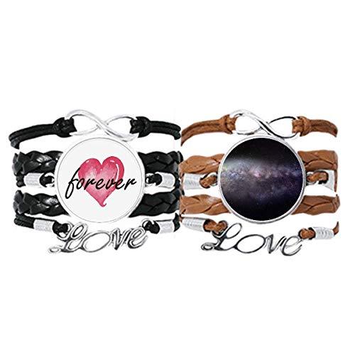 DIYthinker Elíptica Cósmica Nebulosa Universo Patrón Pulsera Correa de mano Cuerda de cuero Forever Love Wristband Set doble