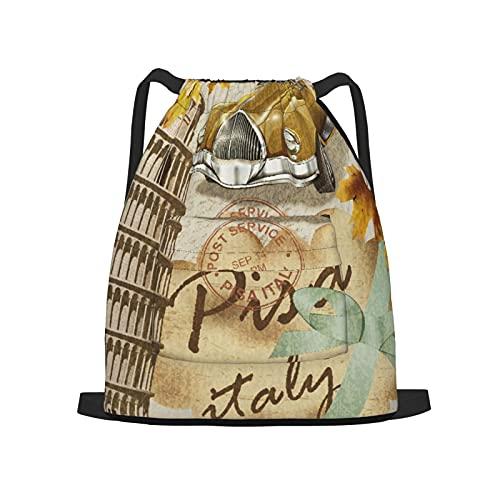 BohoMonos Mochila deportiva con cordón,Póster Pisa Vintage, Gym Sackpack para Hombres Mujeres Niños Yoga Travel Camping String Bag.