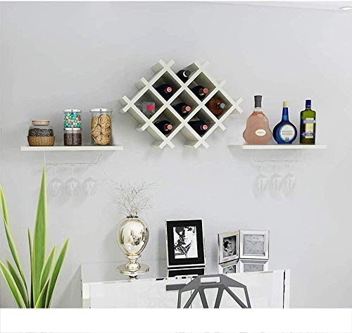 WANNA.ME Estante de Vino Colgante, Estante de Copa de Vino Estante de Vino de Madera, Estante de Vino de Pared Multifuncional Estante de combinación de Pared de Restaurante Estante de Vino (Color: B)
