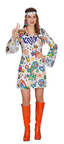 Andrea Moden 708-44/46 - Kostüm Hippie Kleid mit Band, Größe 44/46, Love Kleid, Flower-Power, Blumenkleid, Blumenmädchen, 70er Jahre, Motto Party, Karneval