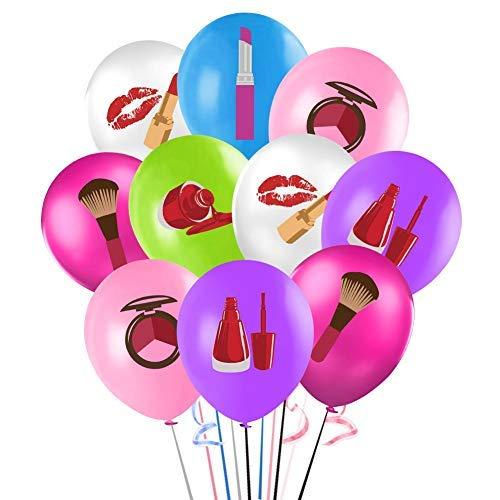 Globos de maquillaje de spa, 12 pulgadas de color spa maquillaje cosméticos globo ramo con cintas, spa temático decoraciones de fiesta para…