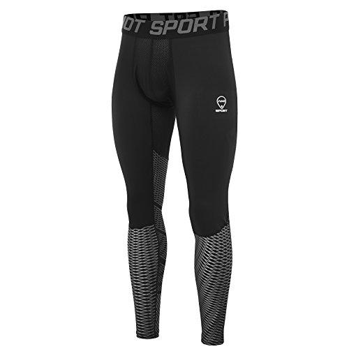 Amzsport Herren Sport Kompressions-Tights Cool Dry Basisschicht Leggings Pro Trainingshose für alle Jahreszeiten Gr. XL, silber