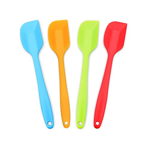 4Piece Silicone Spatula HeatResistant Nonstick Rubber Spatulas with Stainless Steel Core