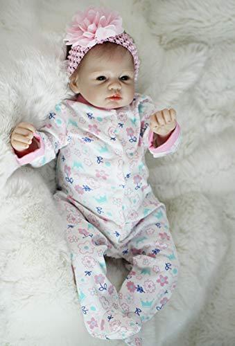 UBTY Realista Ojos Abiertos Niñas 22 Pulgadas 55cm Baby Dolls Vinilo de Silicona Suave Magnética Reborn Muñecas bebé Juguete Niño