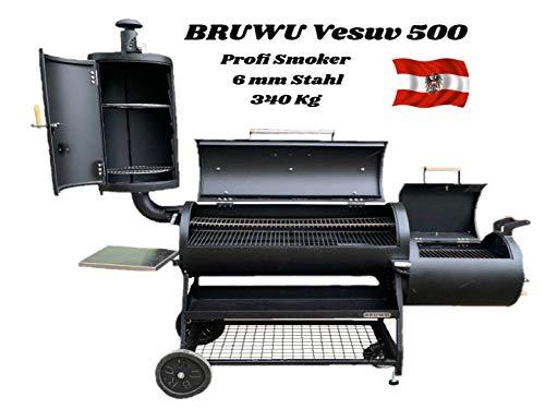 Smoker Bruwu Vesuv 500 aus 6 mm Stahl 340 Kg für BBQ Grill Selche und Räuchern. Geeignet für Privat und auch für Business. Mit Hitze Verteiler Platten und Klappen