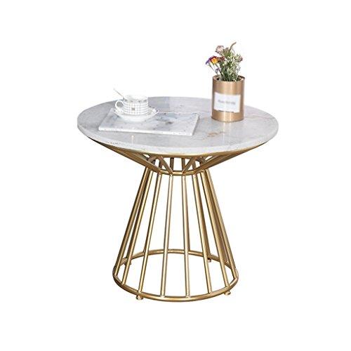 Tafel voor computertafel, marmeren tafel, smeedijzer, bank, woonkamer, eettafel, multifunctioneel, rond, 40 x 50 cm, wit