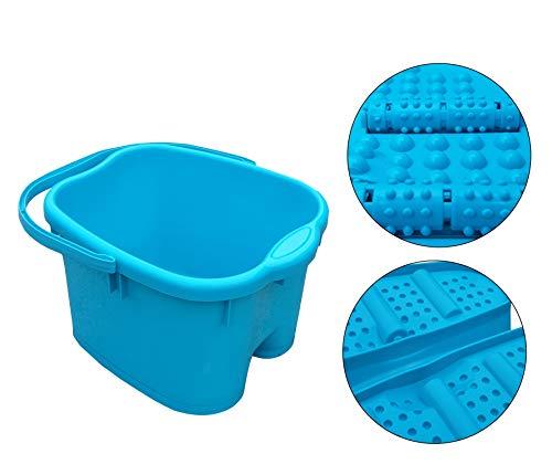 Fußmassagegerät Fußbad Fußbadewanne Fuß Wanne SPA Plastik Fußbecken Fußmassage mit 6 x Massagerollen 20 Liter Blau Grün Violett (Blau)