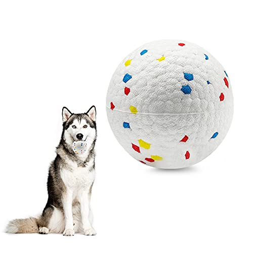 PetsLA Dog Ball Toys for Aggressive Chewers Lifetime Replacement Guarantee Indestructible Dog Ball Float On Water Fetch Bouncy Durable Solid TPR Rubber Ball for Power Chewers (L Polka Dot Color 1PK)