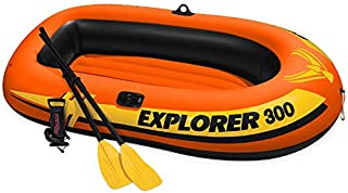 MRT SUPPLY Explorer 300 Compact Inflatable Fishing 3 Person Raft Boat w/Pump & Oars with Ebook