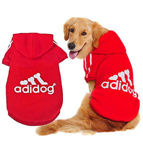 Scheppend Adidog Pet Dog Clothes Cappuccio Invernale Cappotto Cat Puppy Felpa Abbigliamento in Cotone per Cani di Taglia Grande XL,Pink