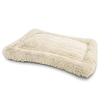 Faux Fur Dog Bed Crate Mat Soft Plush Calming Pet Mattress for Large Medium Dog Warming Cozy Anti Anxiety Non-Slip Machine Washable Dog Cushion for Kennel Pad Grey X-Large