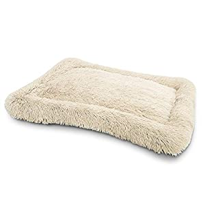 WINDRACING Faux Fur Dog Bed Crate Mat Soft Plush Calming Pet Mattress for Large Medium Dog Warming Cozy Anti Anxiety Non-Slip Machine Washable Dog Cushion for Kennel Pad