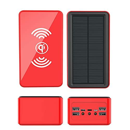 Tcbz Cargador Solar Banco de energía Solar, Cargador Solar inalámbrico para teléfono, Cargador portátil con Linterna, 5 Salidas, 4 entradas, Paquete de batería Externa Compatible con te