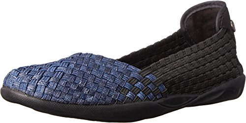 Bernie Mev Women's Braided Catwalk Black Denim Flats - 9.5 B(M) US