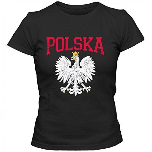Polen Wappen Premium T-Shirt | WarschauShirt | Warszawa | Duda | Frauen | Shirt, Farbe:Schwarz (Deep Black L191);Größe:M