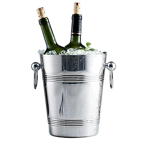 Cubo de hielo más grueso, enfriador de bebidas de 4 l con mango aislante cubo de hielo incluyendo cubo de hielo y pinza de hielo portátil ideal para fiestas, cerveza, barbacoa, bar, bebidas de vino