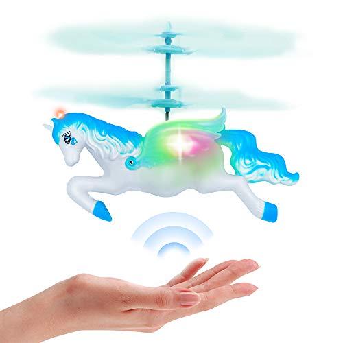 ForeverMagicToys Unicorn Toys Regalos para niñas de 6 años, RC Flying Fairy Toy Mini Control Remoto y muñeca de helicóptero Unicornio controlada a Mano para cumpleaños-Blue