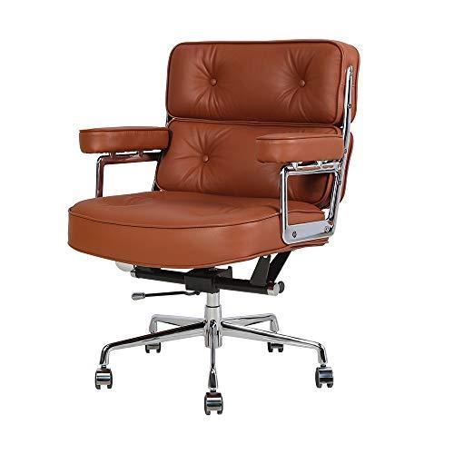 Leder Bürostühle Chefsessel, Schreibtischstuhl mit Armlehne, Ergonomischer Computerstuhl mit Mittlere Rückenlehne, Sitzhöhenverstellung, Neigungsfunktion, Polsterung für Konferenzraum (Hellbraun)