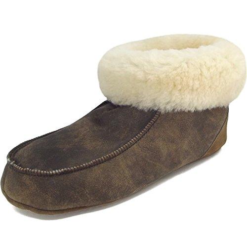 Fellhof Pantuflas de caña Alta Hombre, Color marrón, Talla 41