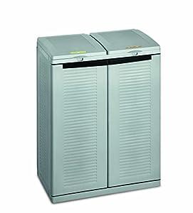 Terry 43560 Armario creado para la recogida selectiva de residuos. Especialmente adecuado para quienes tienen problemas de espacio, Gris, 68x39x88,7 cm