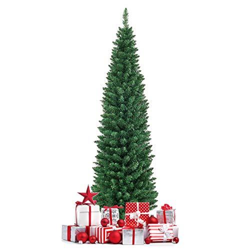 COSTWAY Albero di Natale Artificiale Pino con Supporto in Metallo, Verde, 120 cm / 150 cm / 180 cm (180 cm)