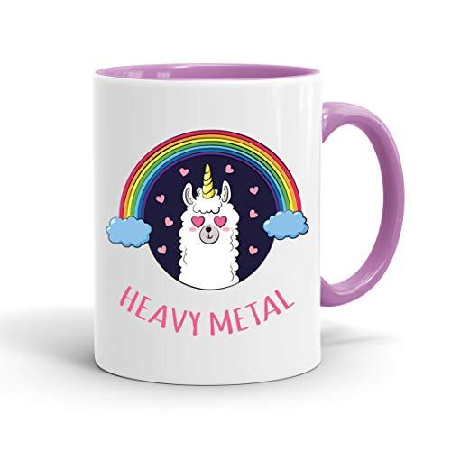 True Statements Lustige Tasse Heavy Metal Lama - Kaffee-Tasse mit Spruch - Geschenk für Mitarbeiter - Chef - Büro - Arbeit, inner rose