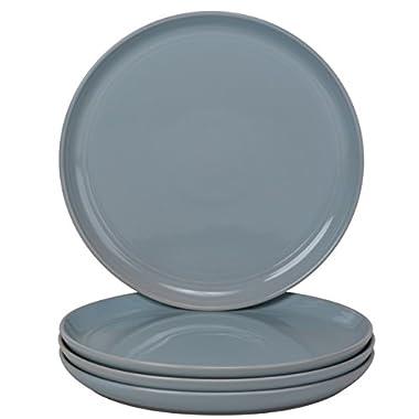 10 Strawberry Street DBL-1-LTBLU-DS Double Line Dinner Plate Set of 4, Light Blue
