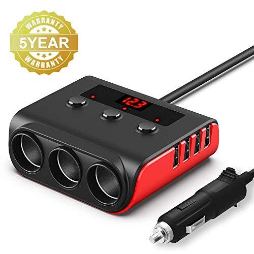 Auto Zigarettenanzünder Adapter, SONRU USB Auto Ladegerät mit 3 Fach Verteiler und 4 USB Ports, 120W 12V/24V KFZ Steckdose mit LED Voltmeter Getrennte Schalter für GPS Dash Cam iPhone Android
