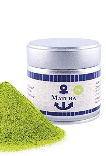 Bio Matcha Pulver, Tee aus Japan, Einsteiger, Tee Pulver in der 30 g Dose, süßlich-mild, geeignet für Matcha Latte, Smoothies und zum kochen, Pestizidfrei, natürlich vegan, Grüntee