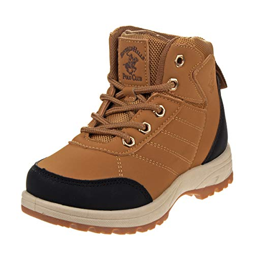 Beverly Hills Polo Club Boys' Lace Up Rugged Hiking Boots, Size 3 Big Kid, Tan'