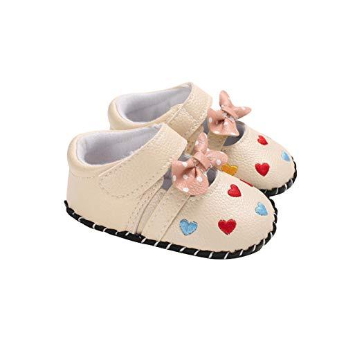DEBAIJIA Bebé Niña Zapato de Princesa con Cinta Mágica para 12-18 Meses Niños Primeros Pasos Zapatos de Cuero con Lazo Moda Casual Antideslizante Suave Suela Patrón de Corazón