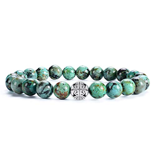 Natural 8mm Gemstones MetJakt Healing Crystal Stretch Beaded Bracelet Bangle with 925 Sterling Silver Double Happiness Pendant (African turquoise AAA)