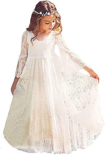 CQDY Flower White Girl Lace Dress Long Sleeves Children Baptism Dress First Communion Dress for 2-13T (12-13T)