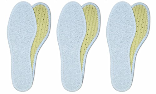 Lenzen 3 Pairs Washable Cotton Terry Shoe Insoles I Breathable Barefoot Insole I Anti-Bacterial Inserts with Activated Carbon (US W8/EU 38)