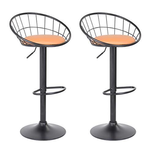 GOLDFAN – Taburete de Bar – Juego de 2 sillas de Cocina Altura Ajustable Giratorio a 360 ° con Respaldo, Color Naranja