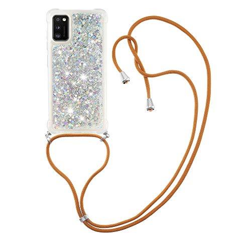 Schutzhülle für Samsung Galaxy A41 (Silber) mit Flüssigkeit, glitzernd, TPU-Gel, Silikon, stoßfest [mit Trageband]