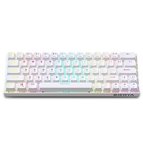 Dierya 60% mechanische Gaming-Tastatur, Bluetooth 4.0 Verkabelte/Kabellose Computer-Tastatur 63 Tasten Kompakt mit RGB-Hintergrundbeleuchtung, 1900 mAh Batterie(Brauner Schalter-White) QWERTY Layout