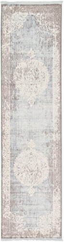 "Unique Loom New Classical Collection Traditional Distressed Vintage Classic Light Blue Runner Rug (2' 7 x 10' 0) - Pile: Polypropylene and Polyester - Backing: Cotton - Weave: Machine Made (Power-Loomed) - Made in: Turkey Size in FT: 2' 7 x 10' 0 - Size in CM: 80x305 - Pile Height & Thickness: 1/3"" - Colors: Light Blue, Ivory Easy-to-clean, stain resistant, and does not shed - underlay (rug pad) recommended to prevent slipping and sliding - runner-rugs, entryway-furniture-decor, entryway-laundry-room - 41EjXhgjaFL -"