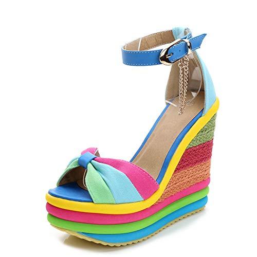 SaraIris Sandals for Women Gladiator Ankle Strap High Heel Platform Shoes Wedge Rainbow Sandals for Women Blue