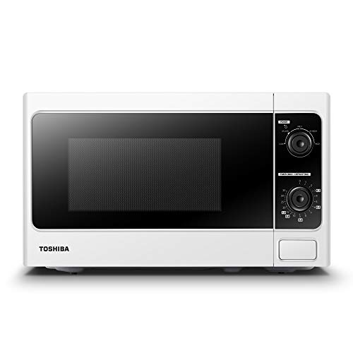 Toshiba Microwave Oven 20 Litre, 800 Watt, MM-MM20P(WH) Upgraded Microwave with Function Defrost, 5 Power Setting, 0-35min Timer, Stylish Design, Easy to Clean – White