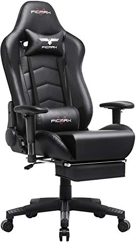 Ficmax Gaming Chair with Footrest Ergonomic PU Leather Computer Chair for...