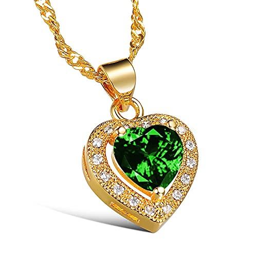 Collar de corazón de amor conincrustaciones de oro,accesorios de vestido de novia...